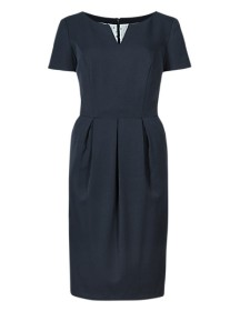 M&S v-neck pleated shift dress