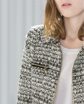 Zara short zipped boucle jacket