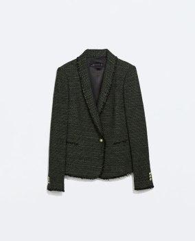 Zara khaki tweed blazer